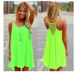 Neon Green Casual Beach Dress